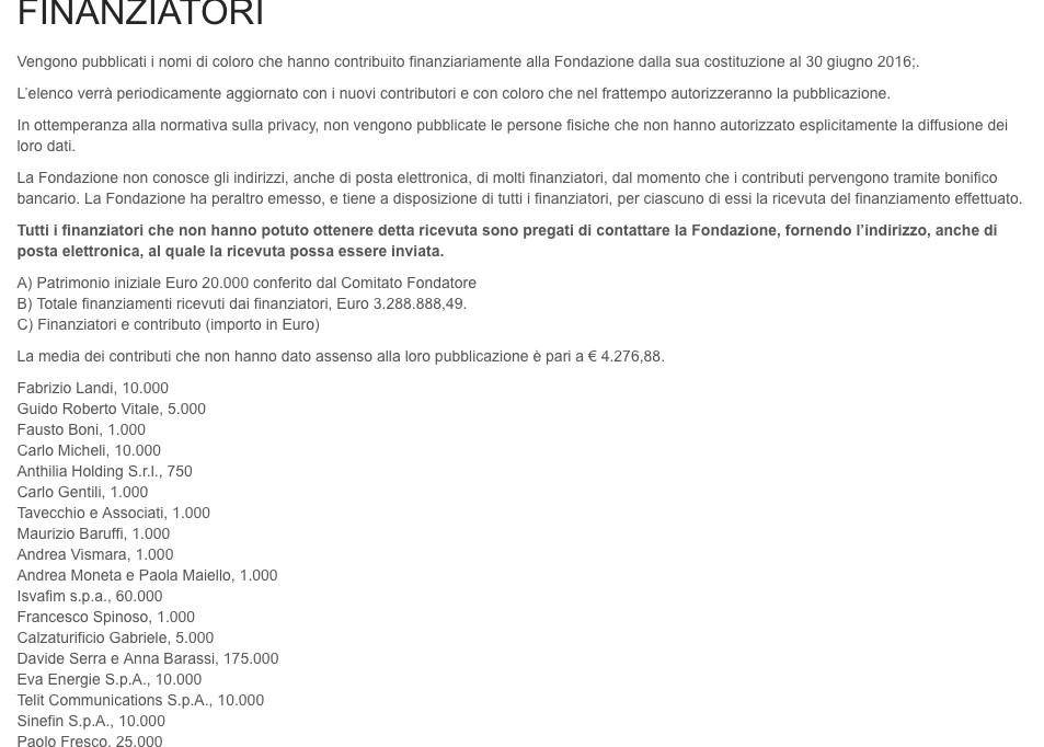 I finanziatori della Fondazione Open, tra cui spicca la Isvafim di Alfredo Romeo