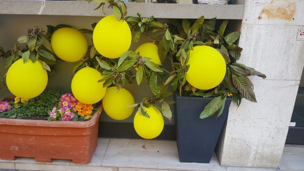 Via Aquileia colorata di giallo (© Diario di Udine)