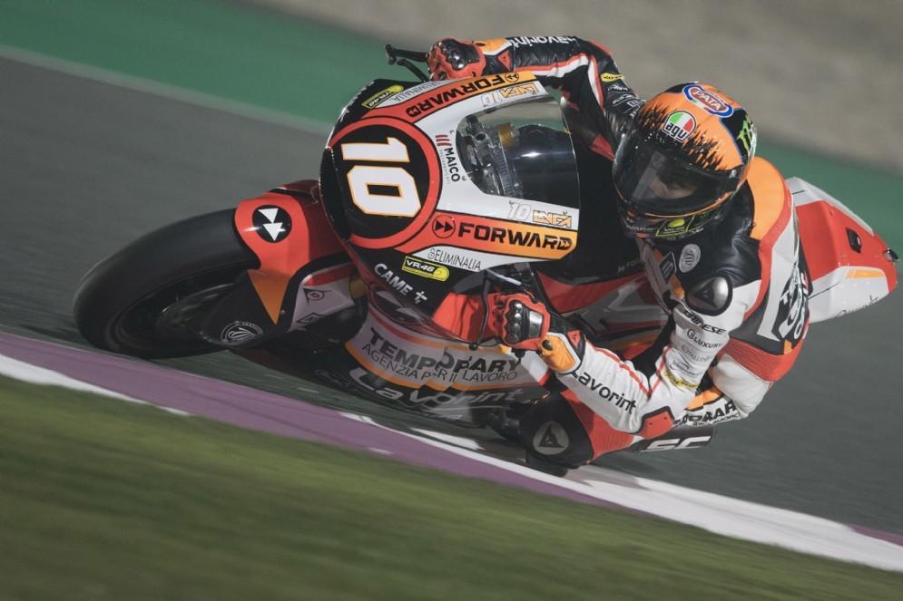 Luca Marini in pista nelle prove in Qatar