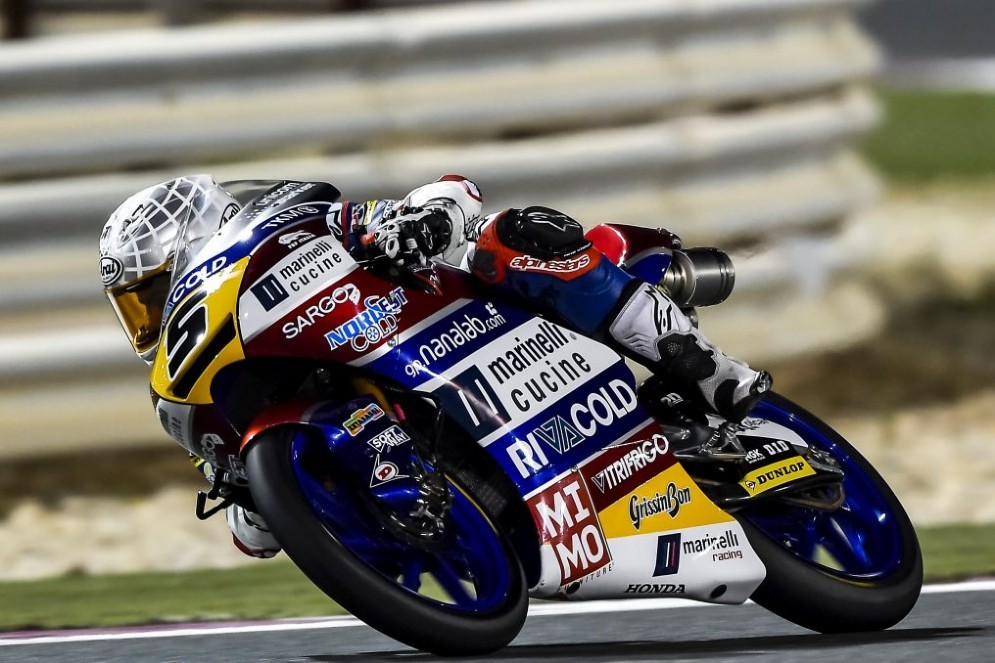 Romano Fenati in pista in Qatar sulla sua Honda