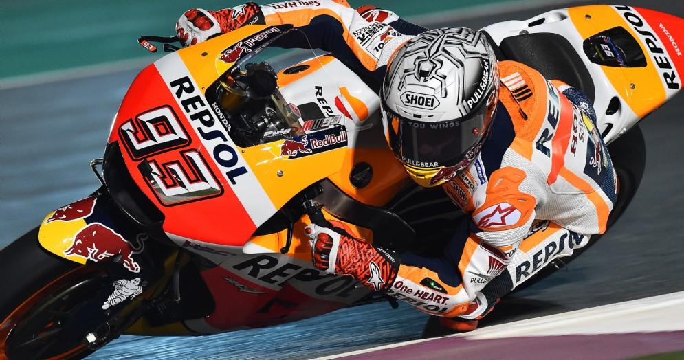 Marc Marquez in azione sulla sua Honda a Losail