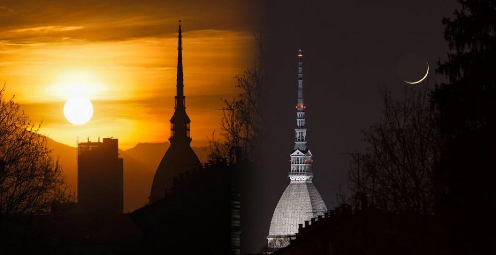 Il doppio tramonto torinese (© Valerio Minato)