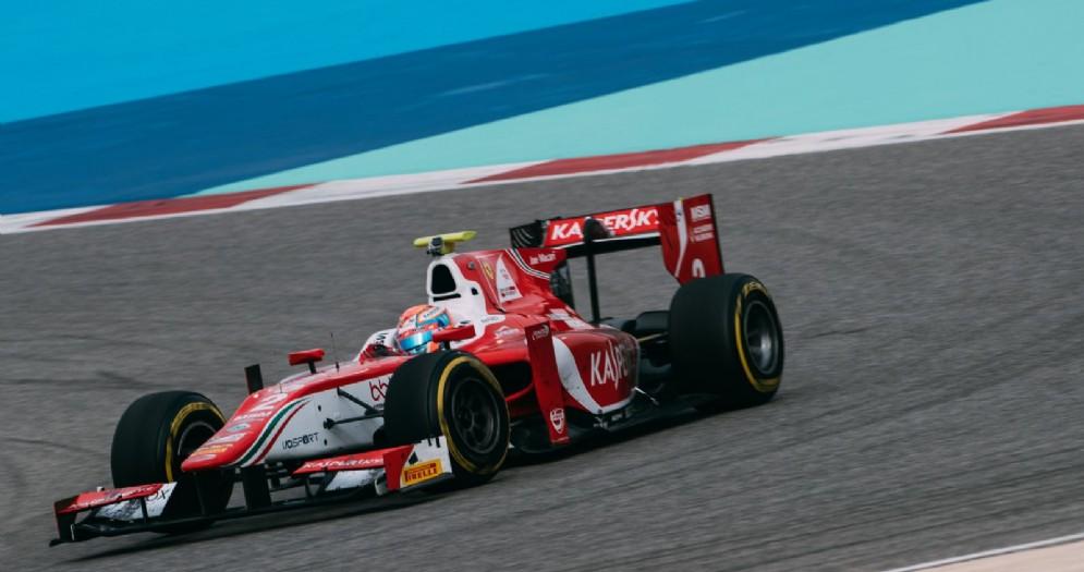 Antonio Fuoco in azione sulla sua monoposto della Prema in Bahrein
