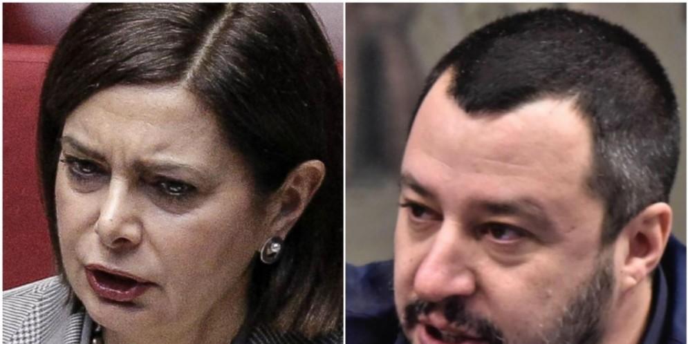 Laura Boldrini e Matteo Salvini.