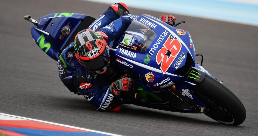 Maverick Vinales in azione sulla Yamaha in Argentina