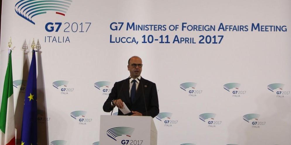 Angelino Alfano al G7 di Lucca.