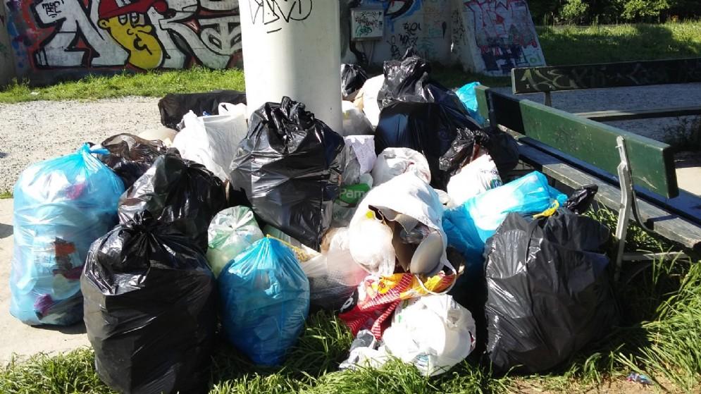 Decine di sacchi di immondizia abbandonati nel parco