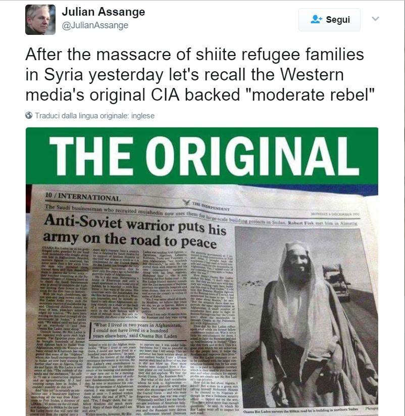 Il tweet di Julian Assange, con la foto della pagina dell'Independent.