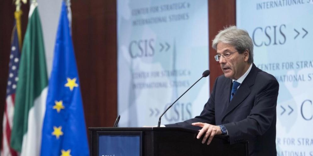 Il premier Paolo Gentiloni al convegno CSIS a Washington.