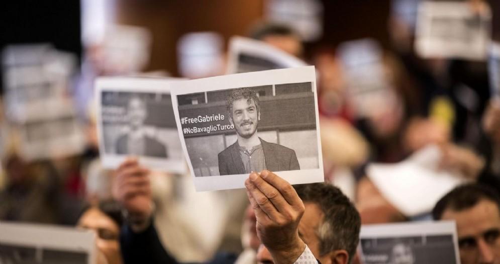 La foto di Gabriele Del Grande, imostrata durante il congresso della federazione nazionale di stampa italiana,