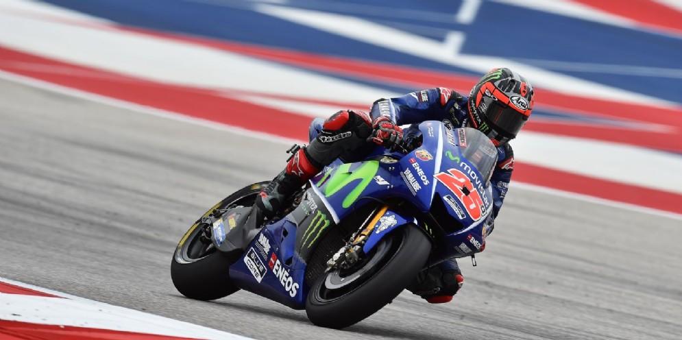 Maverick Vinales in azione sulla Yamaha ad Austin