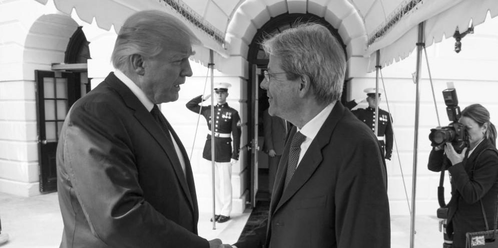 Il presidente Usa Donald Trump e il premier italiano Paolo Gentiloni.