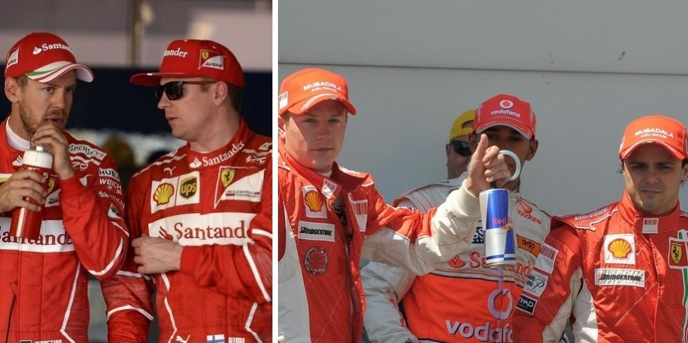 La prima fila di Sochi 2017: Vettel-Raikkonen. E quella di Magny-Cours 2008: Raikkonen-Massa