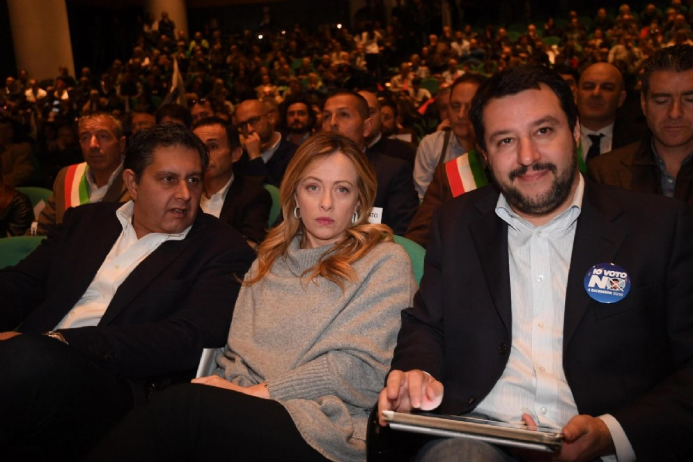 Giovanni Toti, Giorgia Meloni e Matteo Salvini