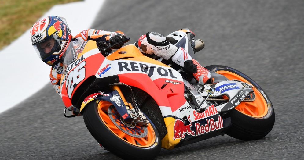 Dani Pedrosa in azione sulla sua Honda nelle prove libere a Jerez