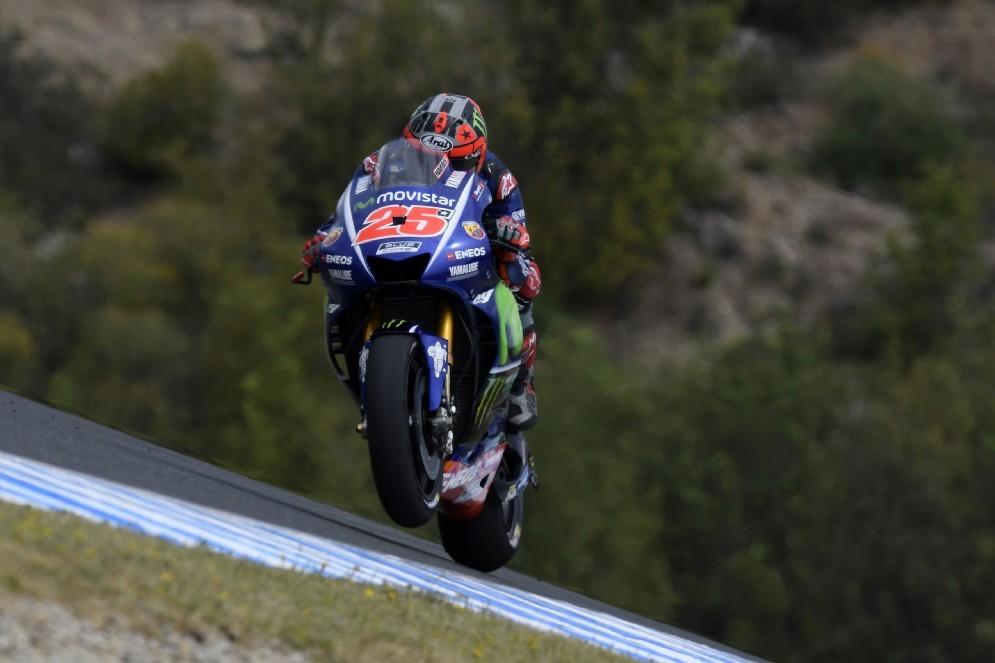 Maverick Vinales sulla sua M1 al venerdì del GP di Spagna