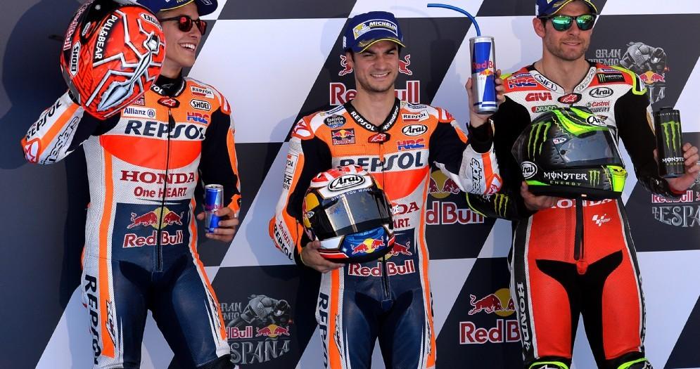 La prima fila del GP di Spagna: Dani Pedrosa, Marc Marquez e Cal Crutchlow