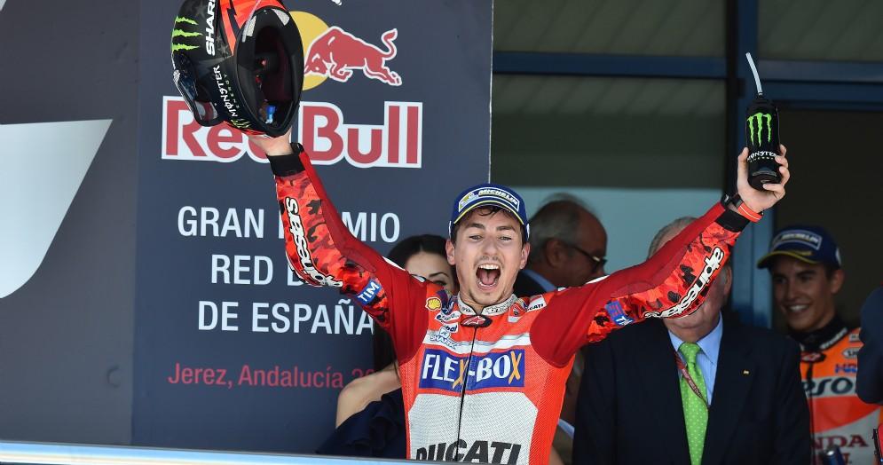 Jorge Lorenzo sul podio di Jerez