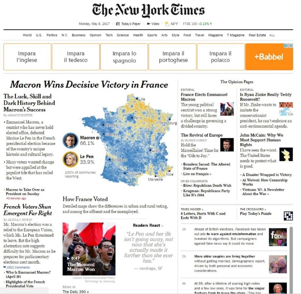 Il sito online del New York Times con la notizia della vittoria di Emmanuel Macron alle elezioni presidenziali francesi, 8 maggio 2017