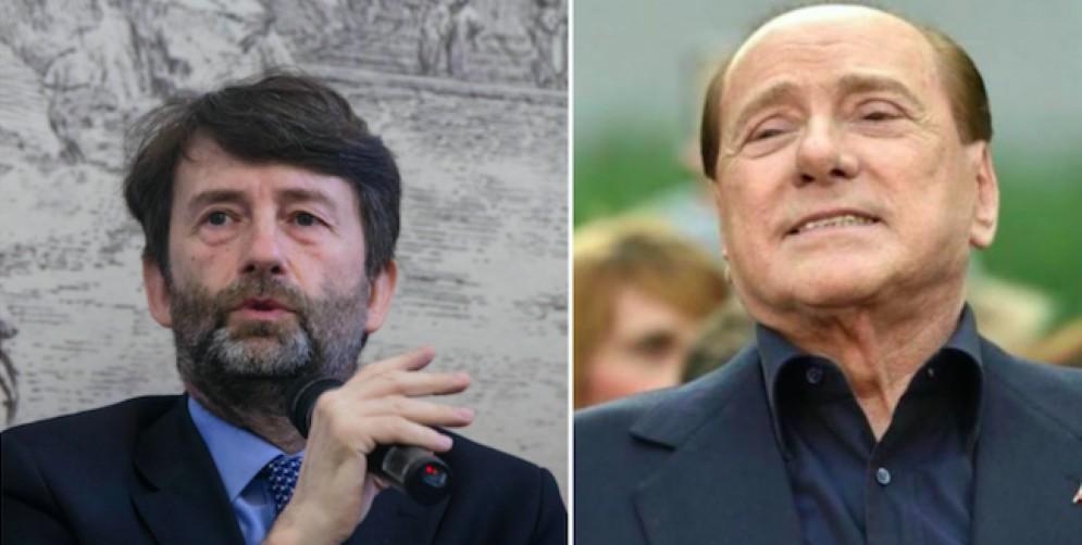 Il ministro della Cultura Dario Franceschini e il leader di Forza Italia Silvio Berlusconi