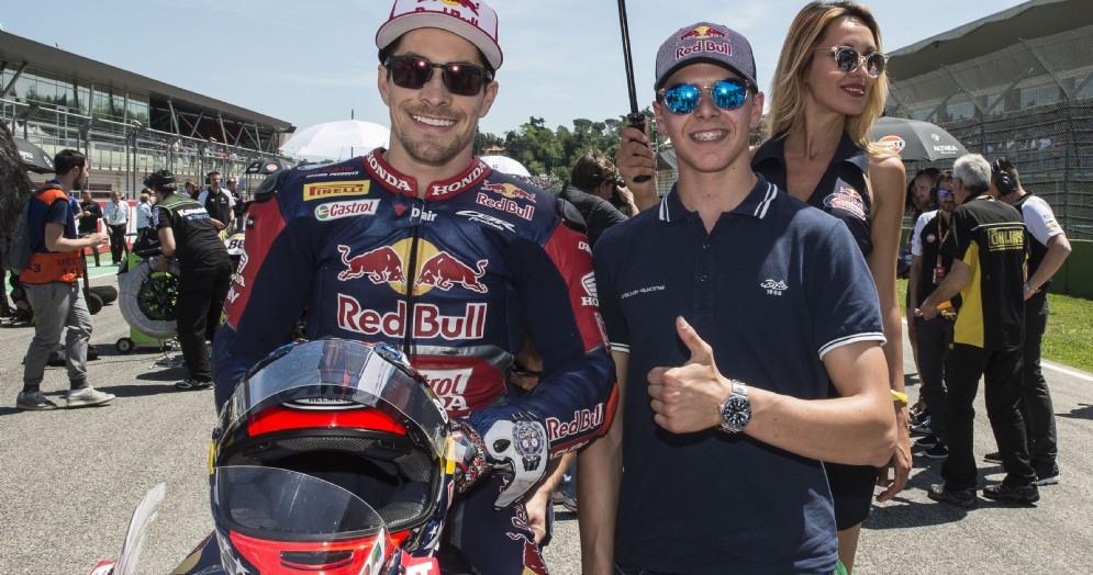 Fabio Di Giannantonio sulla griglia di partenza di Imola con Nicky Hayden
