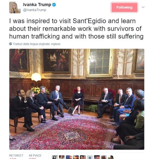 Il tweet della First Daughter dopo la sua visita alla Comunità di Sant'Egidio