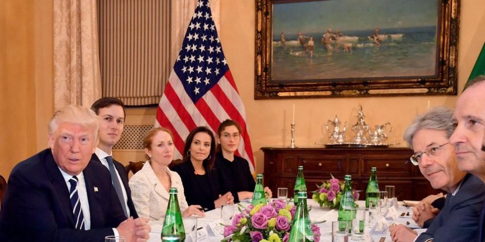 Il presidente Usa Donald Trump ricevuto a Villa Taverna dal premier Paolo Gentiloni