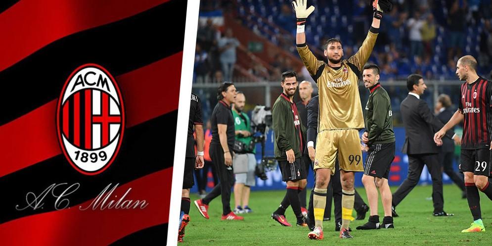 Il portiere del Milan Donnarumma saluta i suoi tifosi