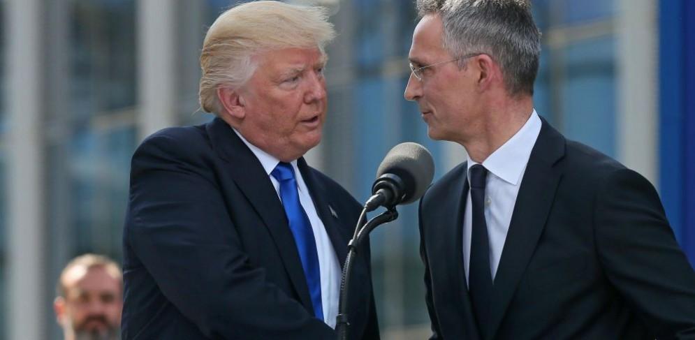 Il presidente Usa Donald Trump con il segretario generale Nato Jens Stoltenberg