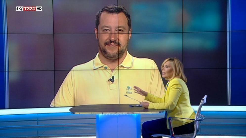 """Il segretario federale della Lega Nord, Matteo Salvini, ospite del programma """"L'intervista"""" di Maria Latella su Sky TG24"""