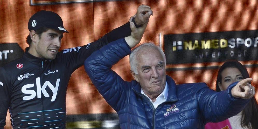 Enzo Cainero presente alla 19ma tappa del Giro d'Italia che si è conclusa in vetta a Piancavallo