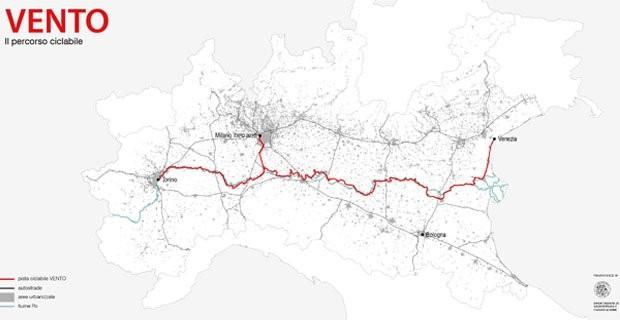 Il percorso della ciclovia Vento