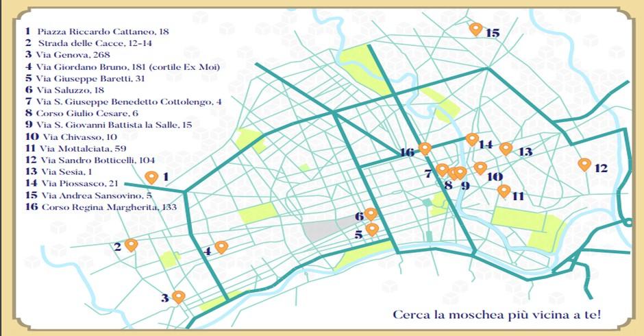Mappa Moschee Torino
