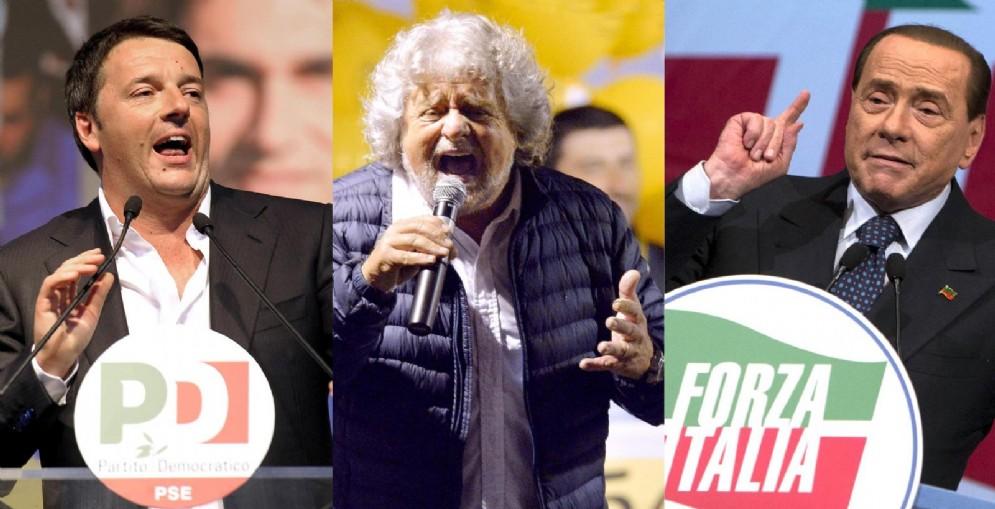 Il segretario del Pd Matteo Renzi, il leader del M5s Beppe Grillo e quello di Forza Italia Silvio Berlusconi