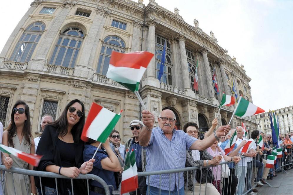 Festa della Repubblica Italiana in Piazza Castello, Torino, 2 Giugno 2017 (© Ansa Foto - Alessandro Di Marco)
