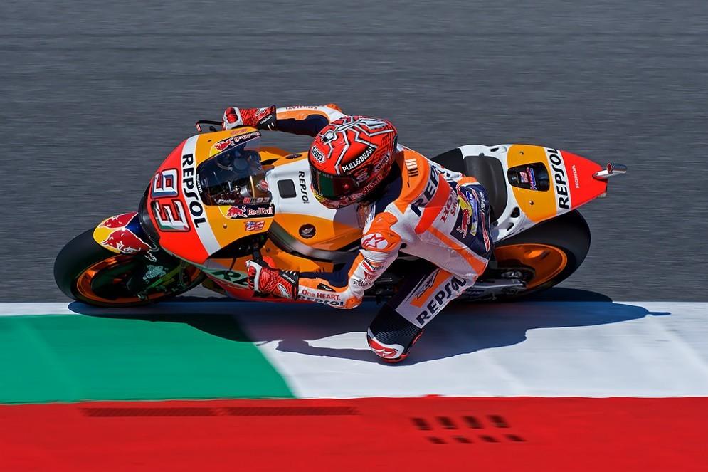 Marc Marquez in pista al sabato del Gran Premio d'Italia