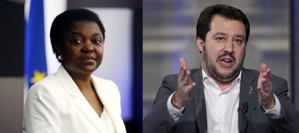 L'ex ministro per l'Integrazione Cecile Kyenge e il leader della Lega Matteo Salvini