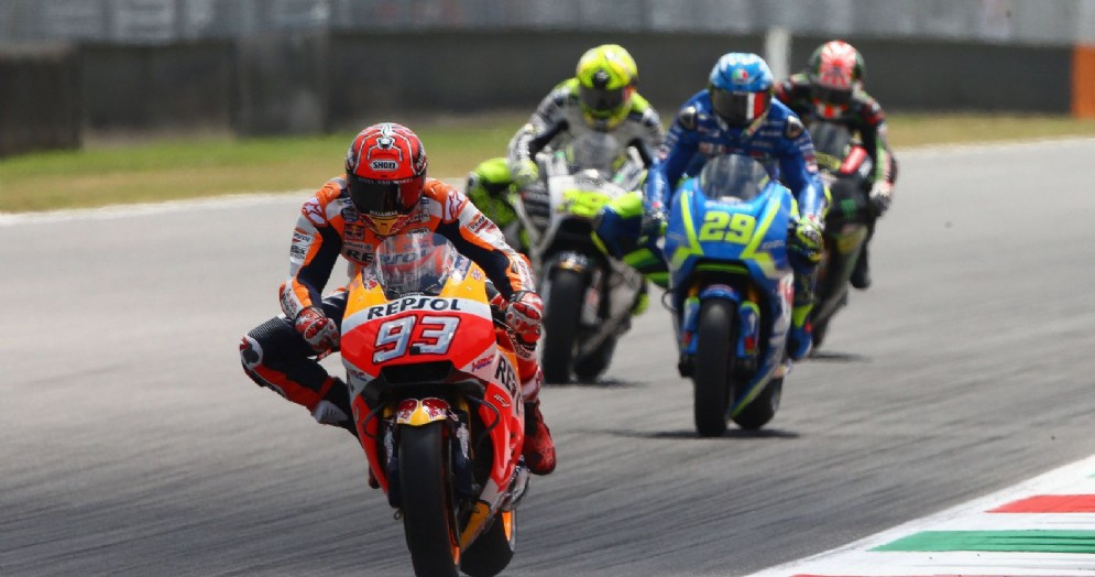 Marc Marquez in azione sulla sua Honda nell'ultimo Gran Premio al Mugello