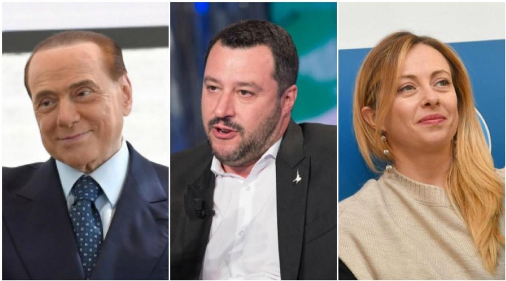 Silvio Berlusconi, Matteo Salvini e Giorgia Meloni.