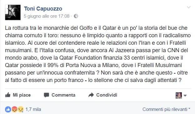 Il post di Capuozzo sul suo profilo Facebook
