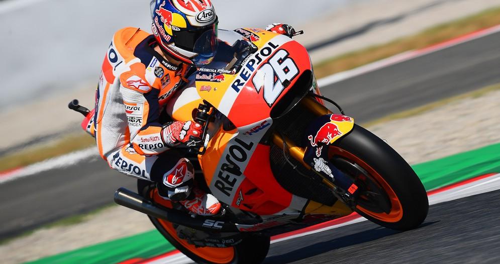 Dani Pedrosa in azione sulla sua Honda a Barcellona