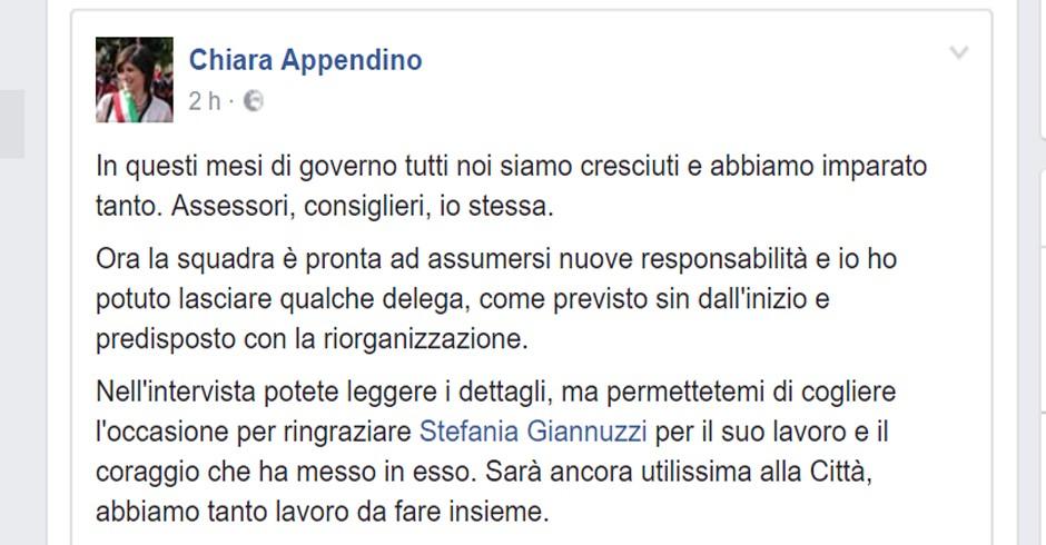 Post di Chiara Appendino apparso su Facebook