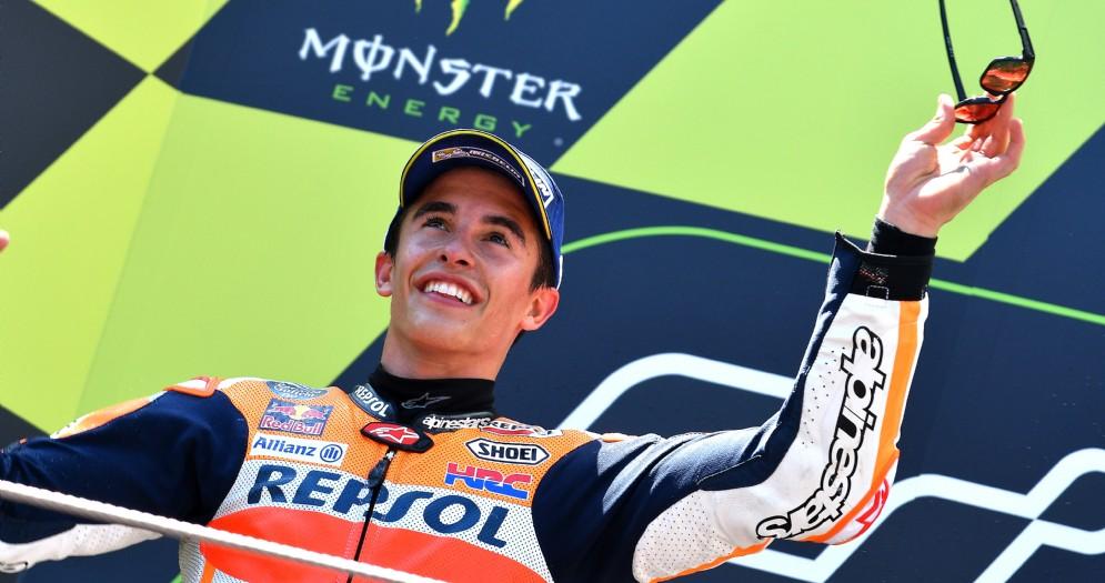 Marc Marquez sul secondo gradino del podio del Gran Premio di Catalogna