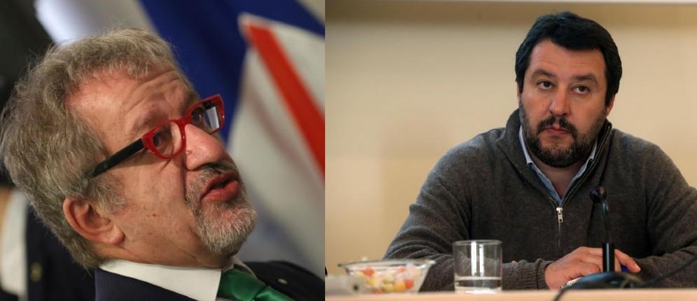 Il governatore della Lombardia Roberto Maroni e il leader della Lega Matteo Salvini
