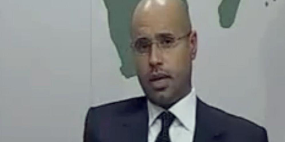 Fermo immagine del 2011 che mostra il figlio di Gheddafi Seif al Islam