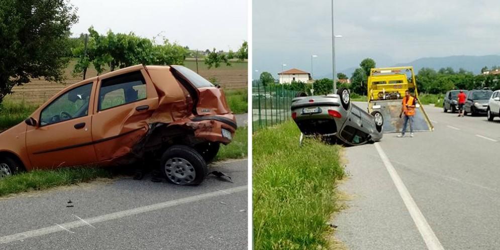 Incidente a Reana del Rojale: una Peugeot finisce ruote all'aria