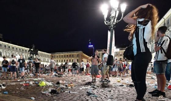 Piazza San Carlo dopo gli incidenti