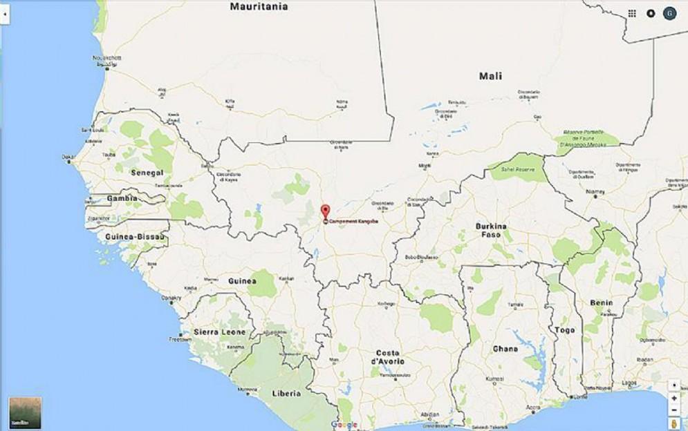 La mappa dell'Africa con in evidenza il Mali in cui potrebbe essere in corso un attacco terroristico