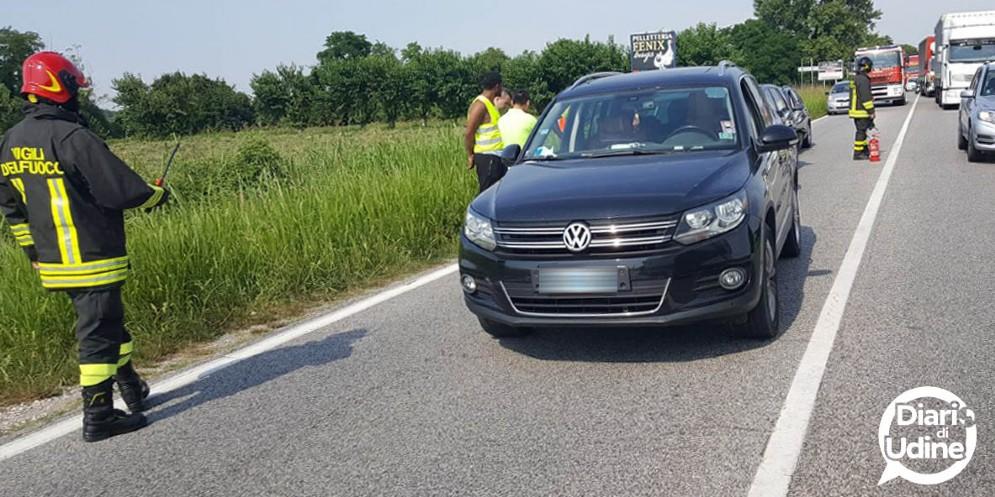 Tamponamento a Pradamano: bloccata la regionale 56 (© Diario di Udine)