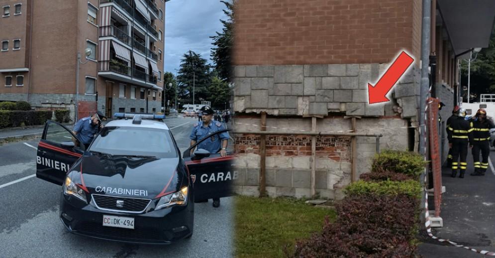 I carabinieri presenti sul posto e i danni alla palazzina